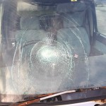 車上荒らし? お猿さんがヤシの実落とした? 車のガラスが蜘蛛の巣状に割れていた!