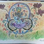 インドの神様 ガネーシャをドローイングアートで描いたよ
